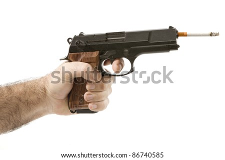 hand holding a cigarette fires gun on a white background