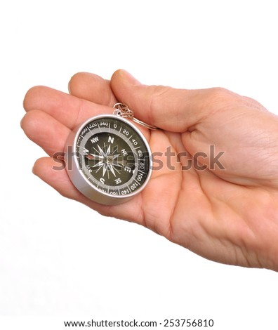 Hand holding a compass isolated on white background. - stock photo