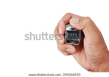 hand holding a counter with zero number in the display isolated on white with clipping path - stock photo