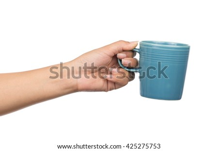 hand holding a cup of coffee, isolated on white background