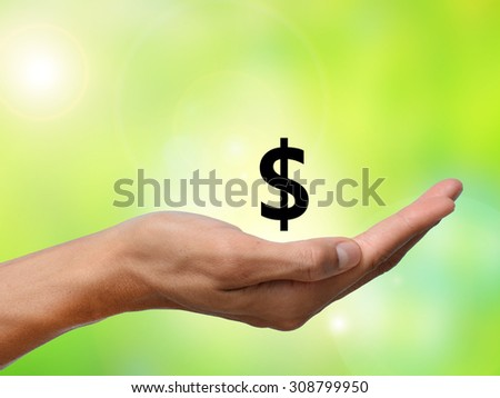 hand holding a dollar sign on green blur background