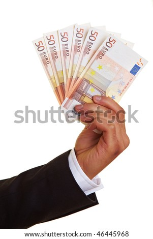 Hand holding a fan made of Euro money - stock photo