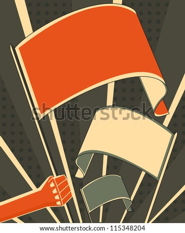hand holding a flag - stock photo