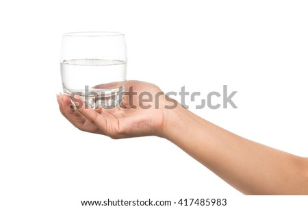 hand holding a Glass of pure water isolated on white background