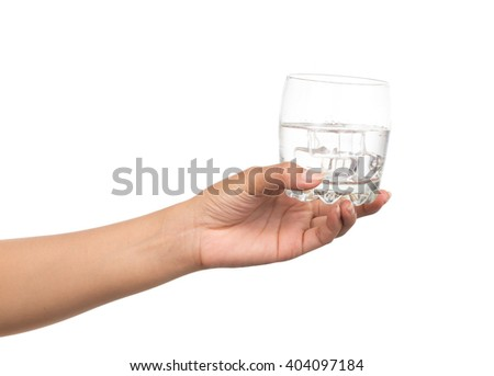 hand holding a Glass of pure water with ice cubes isolated on white background