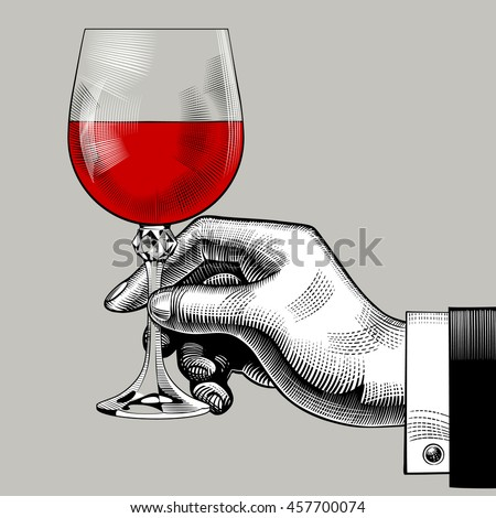 Hand Holding Glass Red Wine Vintage Stock Vector 457517437 ...
