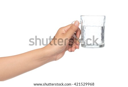 hand holding a glass with water isolated on a white background