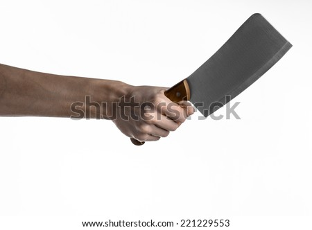 Hand holding a knife for meat, cleaver, chef holding a knife, a large knife, kitchen knife, kitchen theme, white background, isolated, butcher knife