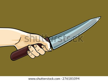 Hand holding a knife (raster version) - stock photo