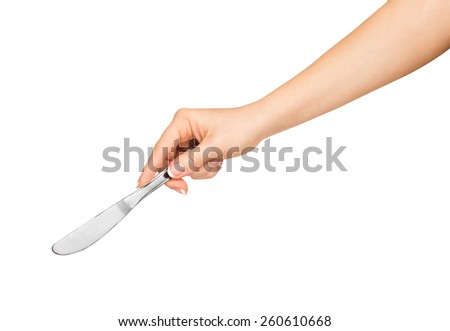 hand holding a knife to eat on an isolated white background