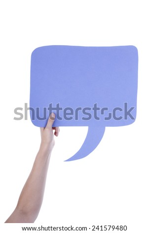 Hand Holding A Light Purple Empty Speech Balloon Or Speech Bubble. Isolated Photo With Copy Space Or Your Text Here - stock photo