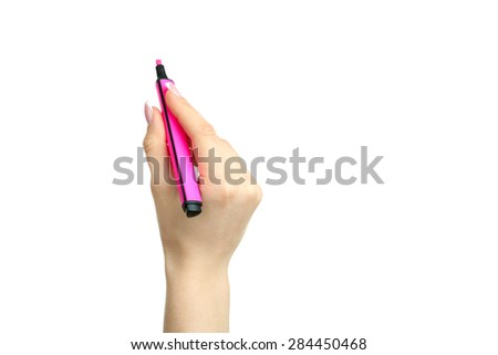 Hand holding a marker isolated on white background - stock photo