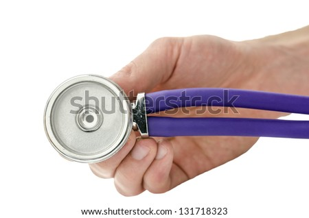 Hand holding a medical stethoscope towards you. Isolated over white background.