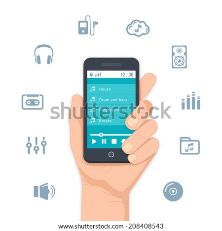 Hand holding a mobile MP3 player with a list of tunes on the display and surrounded by assorted music and entertainment icons for apps illustration on white