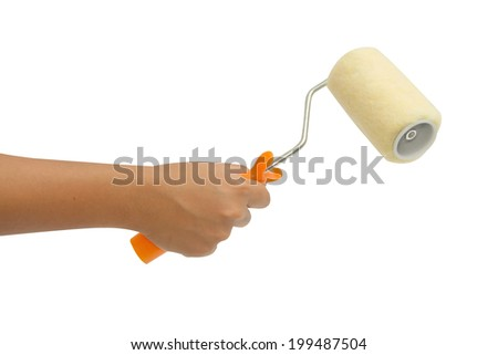 hand holding a painting brush isolated  - stock photo