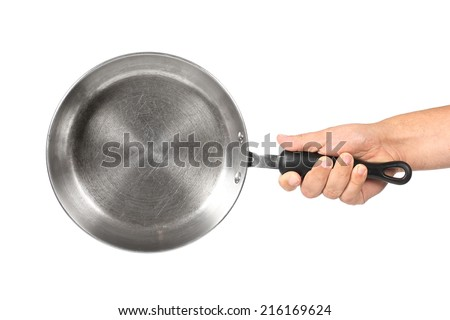 hand holding a pan on a white background - stock photo