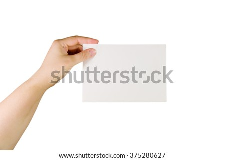 Hand holding a paper card (isolated on white)