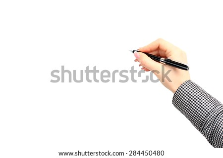 Hand holding a pen isolated on white background - stock photo