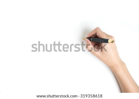 Hand Holding a pen on white background - stock photo