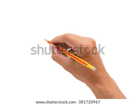 Hand holding a pencil isolated on a white background