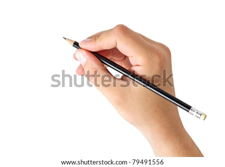 hand holding a pencil isolated on white background - stock photo