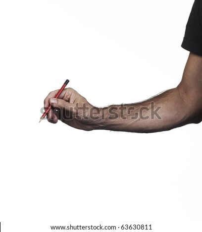 Hand holding a pencil of writing of red color on a white set