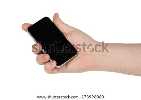 hand holding a phone