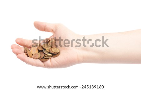 Hand holding a pile of euro coins, composition isolated over the white background - stock photo