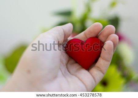 Hand holding a red heart shape