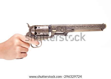 hand holding a revolver isolated on white - stock photo