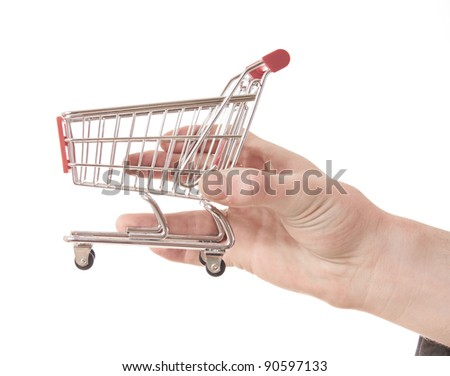 hand holding a shopping cart