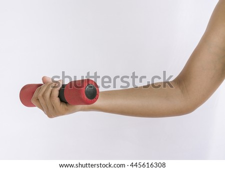 Hand holding a small dumbbell, want to exercise to good shape