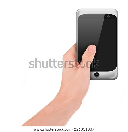 Hand holding a smart phone (palmtop) with blank screen isolated on white