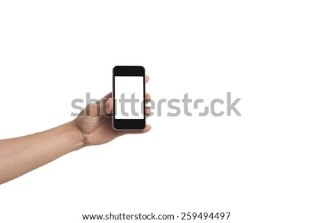 hand holding a smart phone with blank touch screen  (file includes clipping path)