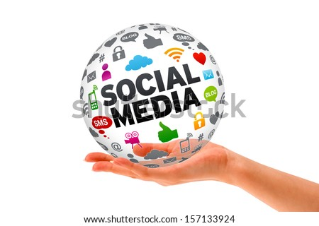 Hand holding a Social Media 3d Sphere - stock photo
