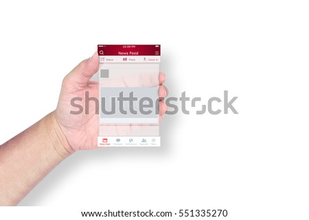 Hand holding a social network application template on white background.