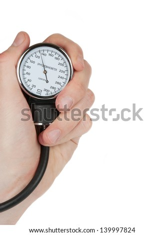 Hand holding a sphygmomanometer isolated on white background