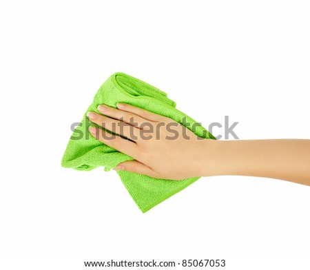 hand holding a sponge isolated on white background. Cleaning