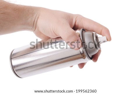 Hand holding a spray can isolated on a white background - stock photo