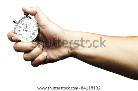 hand holding a stopwatch against a white background - stock photo