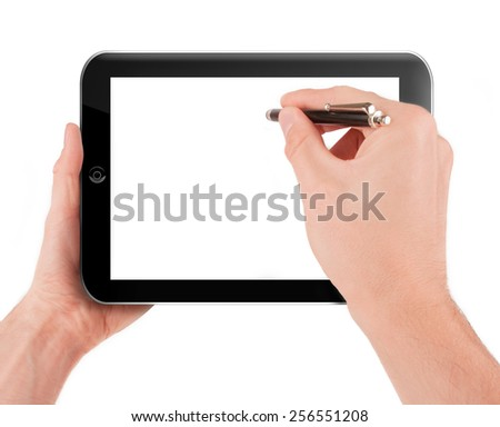 Hand holding a tablet pc computer with blank screen isolated on white background