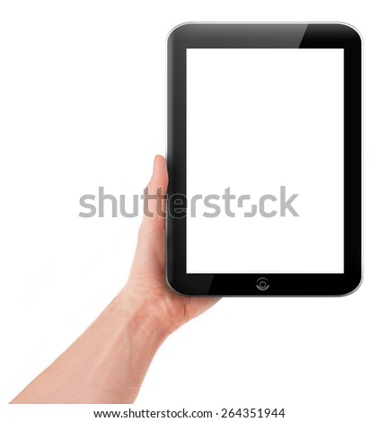 Hand holding a tablet pc computer with blank screen isolated on white background - stock photo