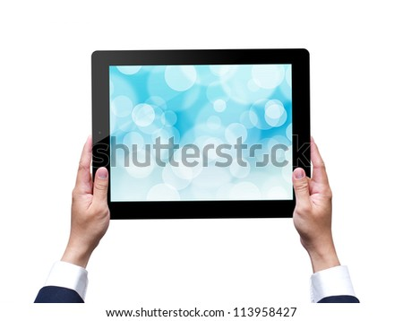 hand holding a tablet with isolated on white