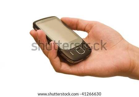 Hand holding a touch screen mobile phone