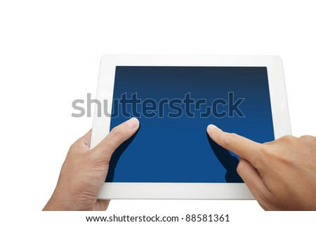 hand holding a touchpad pc, isolated on white - stock photo
