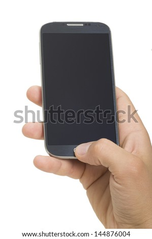 hand holding a touchscreen smartphone
