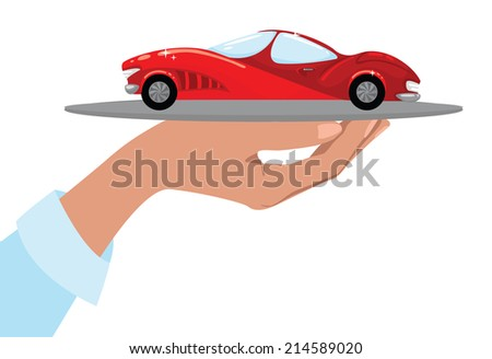 Hand holding a tray with luxury car