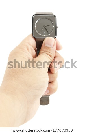 Hand holding a watch isolated on white
