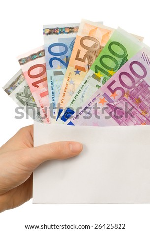 Hand holding a white envelope with different Euro notes sticking out of it