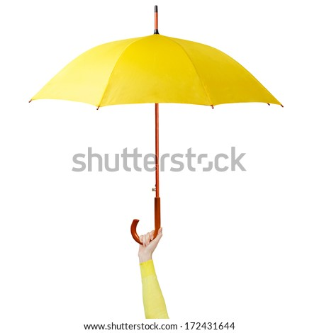 Hand holding a yellow umbrella isolated on white background